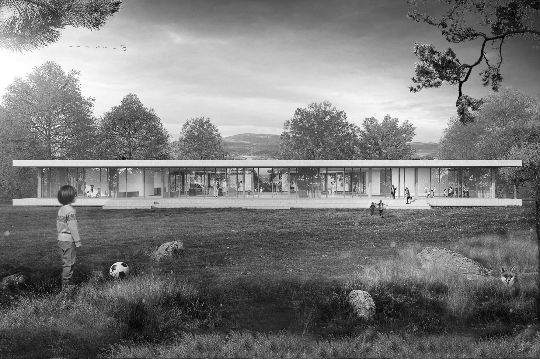 Schule Ried Köniz, Schweiz, Schenker Salvi Weber, Wettbewerb, Visualisierung Fassade
