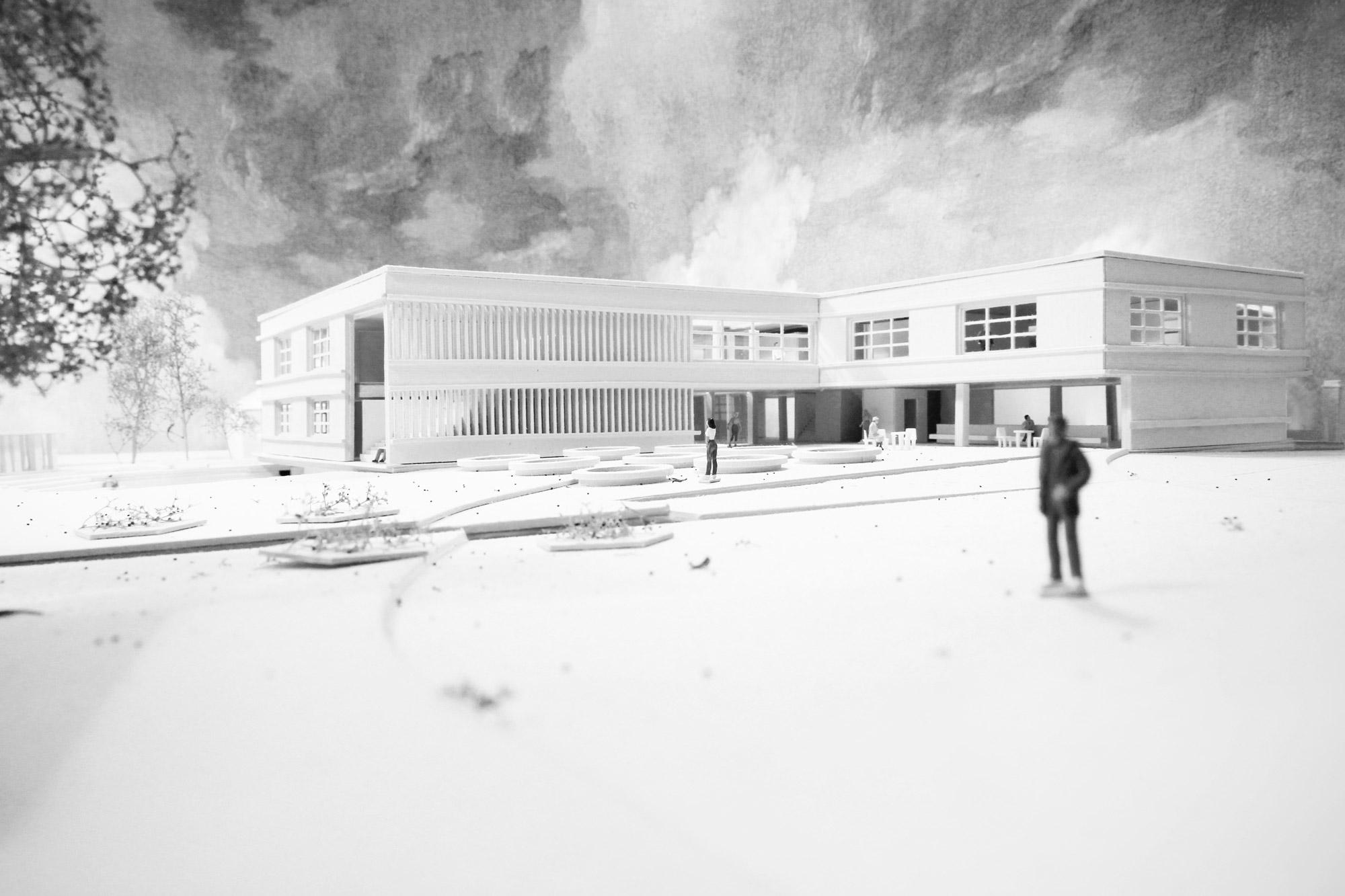 Rudolf Steiner Schule Wien, Österreich, Schenker Salvi Weber, Wettbewerb, Modell, Fassade