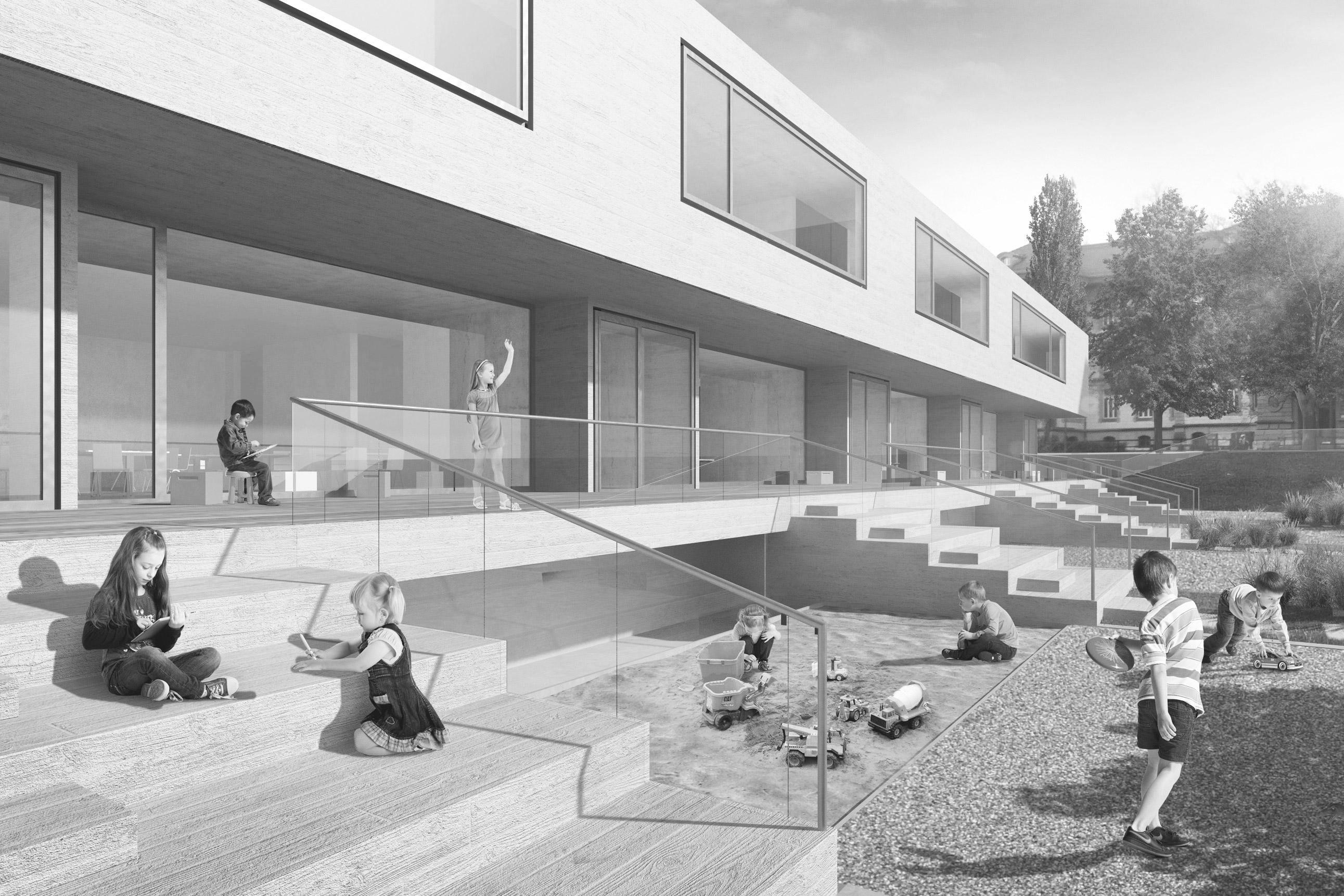 Volksschule Kirchenfeld Bern, Schweiz, Schenker Salvi Weber, Wettbewerb, Visualisierung, Aussenraum